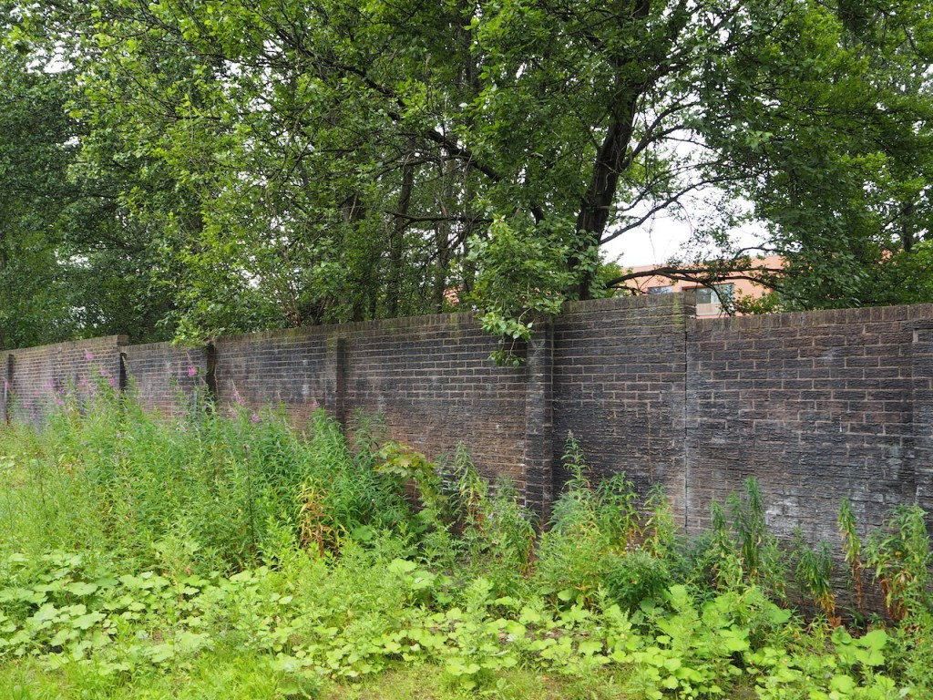 Photograph of the wall opposite the archway entrances.